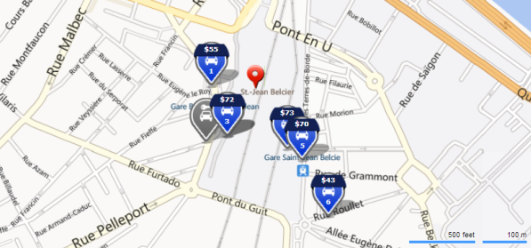 Car rental locations around Bordeaux Airport, France