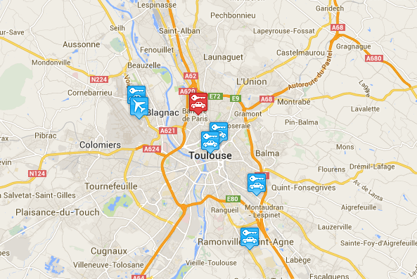 Car rental at Toulouse, France